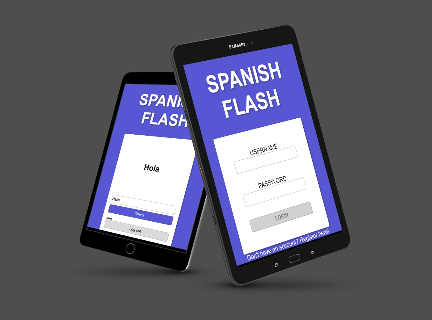 tablet images of Spanish Flash website